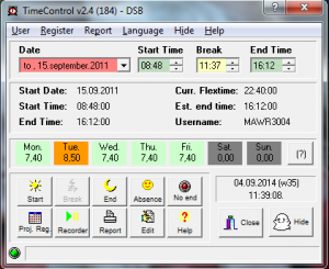 TC 2.4 MainScreen med dato